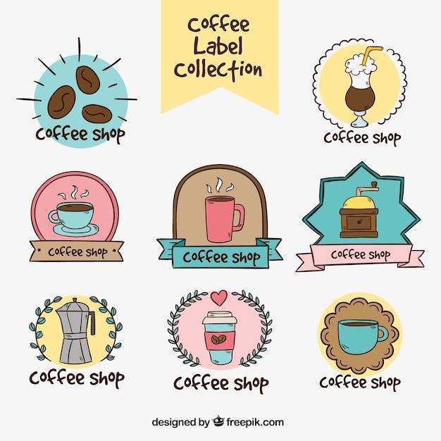 Kolekcja rysowane ręcznie naklejki kawy Darmowych Wektorów