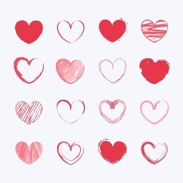 Kolekcja Rysowane Serca Darmowych Wektorów