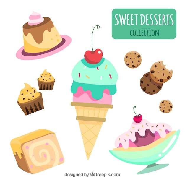 Kolekcja słodkie desery w stylu płaski Darmowych Wektorów