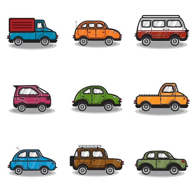 Kolekcja samochodów i ciężarówek ilustracja Darmowych Wektorów