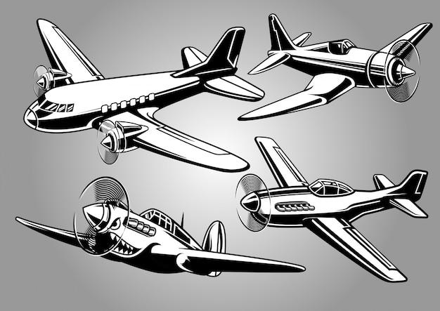 Kolekcja samolotów wojskowych z okresu ii wojny światowej Premium Wektorów