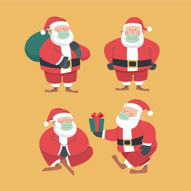 Kolekcja Santa Claus W Masce Premium Wektorów