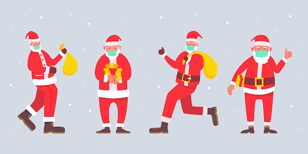 Kolekcja Santa Claus W Masce Darmowych Wektorów