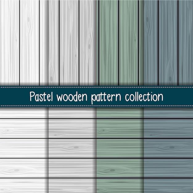 Kolekcja shabby chic szary, szałwia i niebieski bez szwu drewniany wzór Premium Wektorów