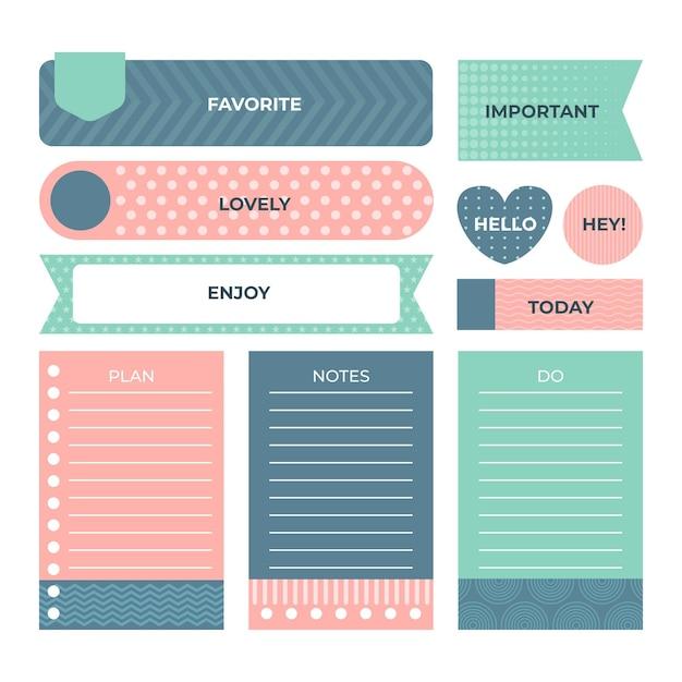 Kolekcja ślicznych Elementów Notatnika Planisty Darmowych Wektorów