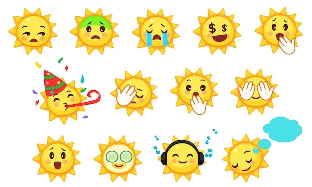 Kolekcja ślicznych emotikonów słońca Premium Wektorów