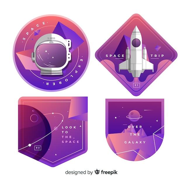 Kolekcja ślicznych kolorowych naklejek kosmicznych Darmowych Wektorów