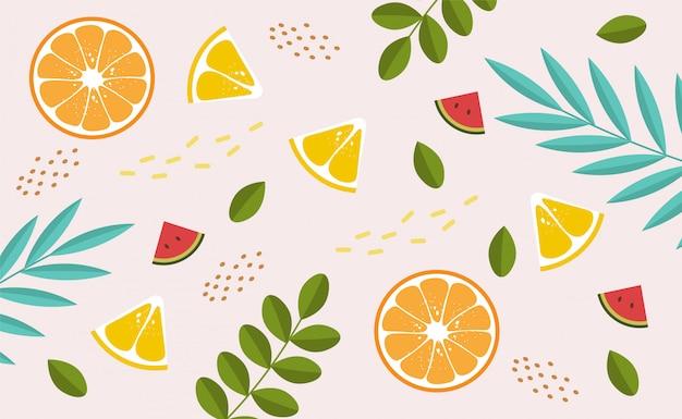 Kolekcja ślicznych Letnich Elementów, Tropikalny Sztandar, Arbuz, Pomarańcza, Cytryna, Tropikalne Liście Obiektów, Karta Sezonu Letniego Premium Wektorów