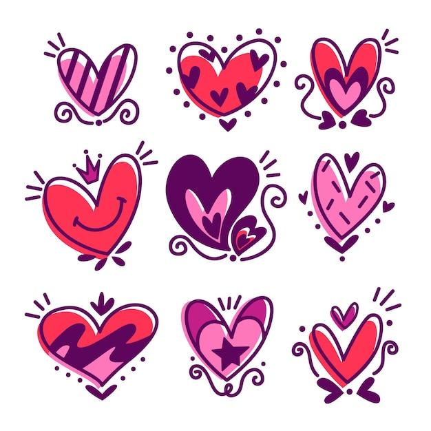 Kolekcja ślicznych Narysowanych Serc Darmowych Wektorów