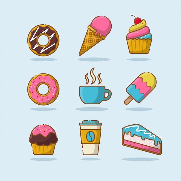 Kolekcja słodkich deserów Premium Wektorów