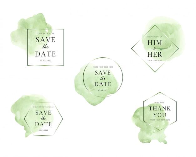Kolekcja ślubna jasnozielonych plam akwarela Premium Wektorów