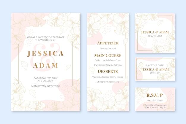 Kolekcja ślubnych Artykułów Piśmiennych Darmowych Wektorów