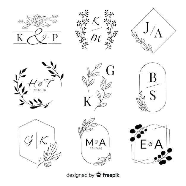 Kolekcja ślubnych logo monogram Darmowych Wektorów