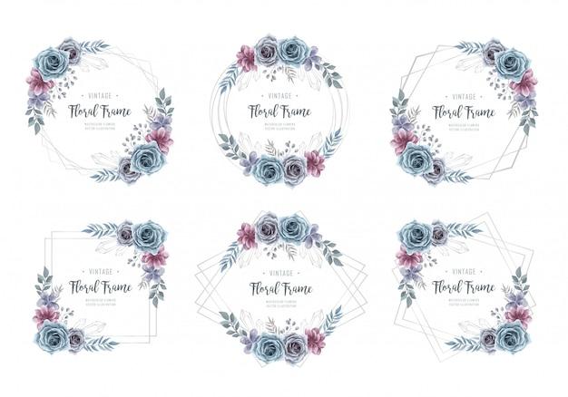 Kolekcja srebrnych kwiatów akwarela Premium Wektorów