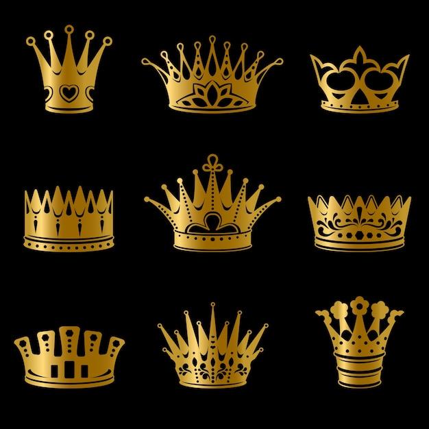 Kolekcja średniowiecznych Złotych Koron Królewskich Darmowych Wektorów