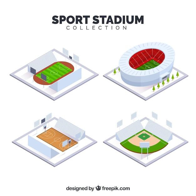 Kolekcja Stadionów Sportowych W Stylu Izometrycznym Darmowych Wektorów