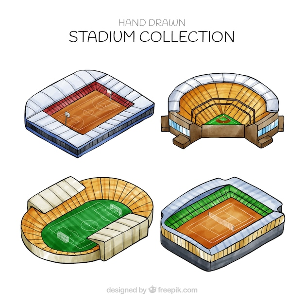 Kolekcja stadionów w stylu izometrycznym Darmowych Wektorów