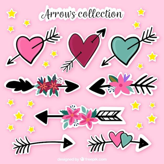 Kolekcja Strzałki Wyciągnąć Rękę I Serce Darmowych Wektorów