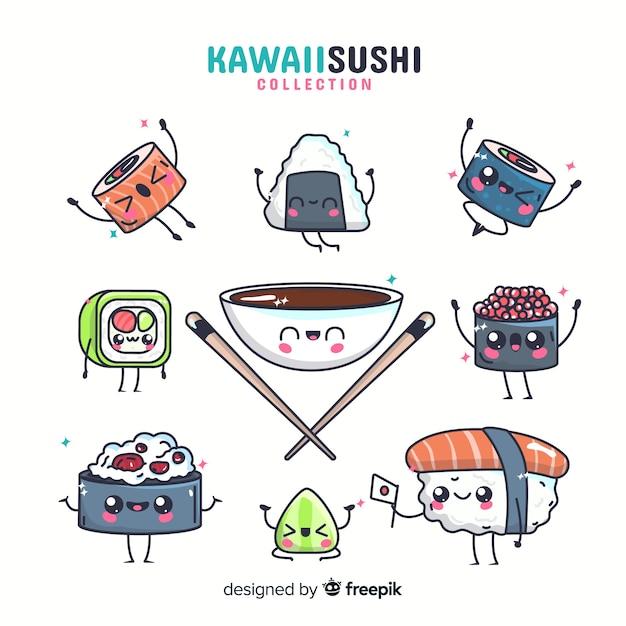 Kolekcja sushi kawaii Darmowych Wektorów