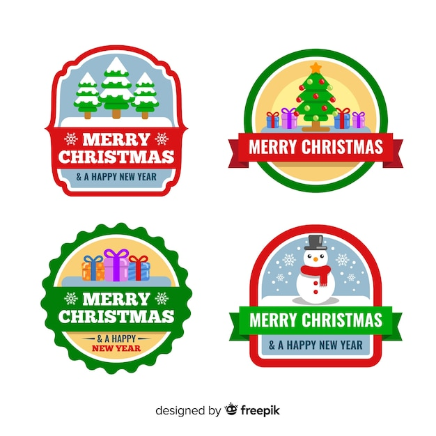 Kolekcja świąteczna odznaka w płaskiej konstrukcji Darmowych Wektorów