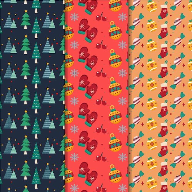 Kolekcja świąteczna wzór płaska konstrukcja Darmowych Wektorów