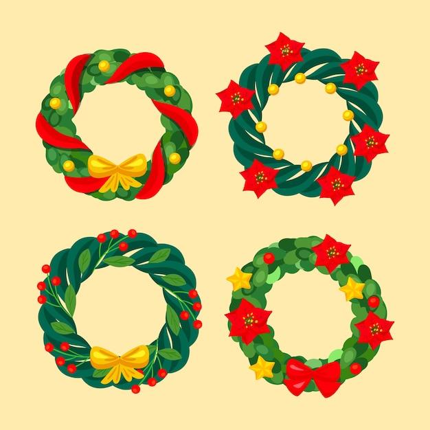 Kolekcja świątecznego kwiatu i wieniec w płaskiej konstrukcji Darmowych Wektorów