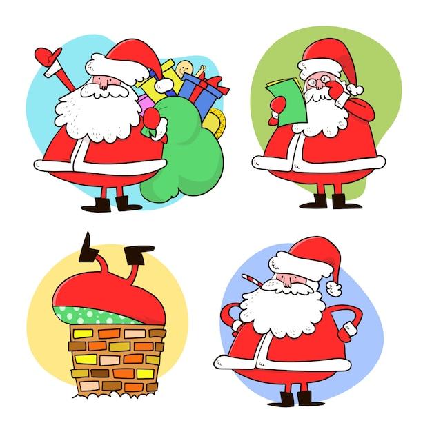 Kolekcja świątecznego świętego Mikołaja Premium Wektorów