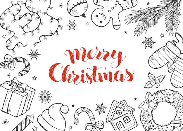 Kolekcja świątecznych Doodli Premium Wektorów