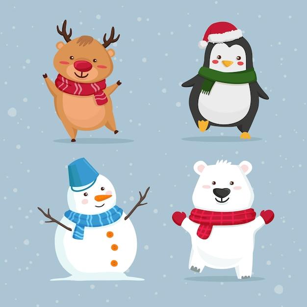 Kolekcja świątecznych postaci z kreskówek Darmowych Wektorów