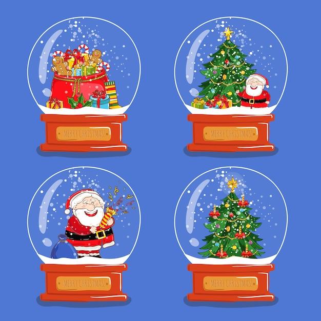 Kolekcja świątecznych szklanych kul śnieżnych Premium Wektorów