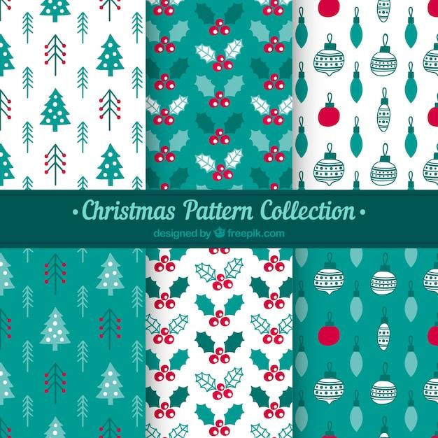 Kolekcja świątecznych wzorów w kolorze białym i turkusowym Darmowych Wektorów
