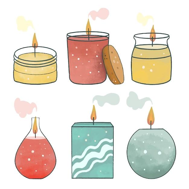 Kolekcja świec Zapachowych Płaska Ilustracja Darmowych Wektorów