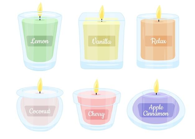 Kolekcja świec Zapachowych Ręcznie Rysowane Płasko Darmowych Wektorów