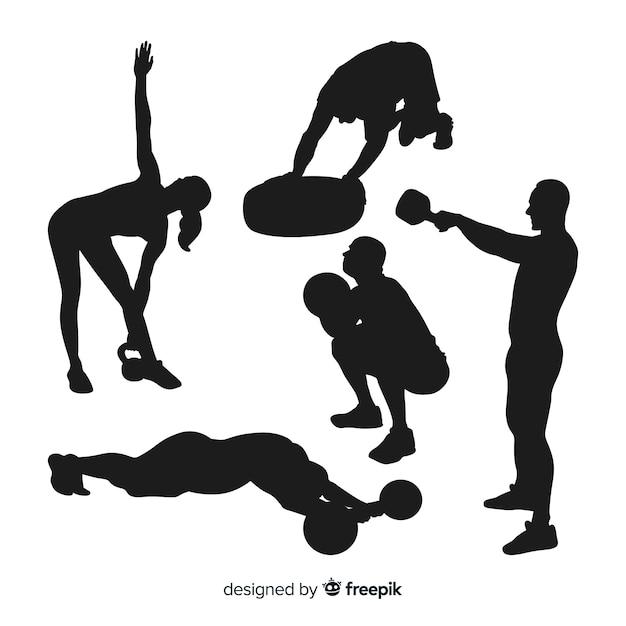 Kolekcja sylwetek treningowych crossfit Darmowych Wektorów