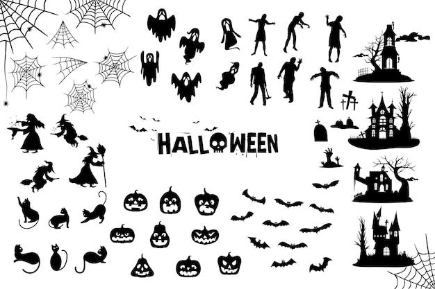 Kolekcja sylwetka halloween Darmowych Wektorów