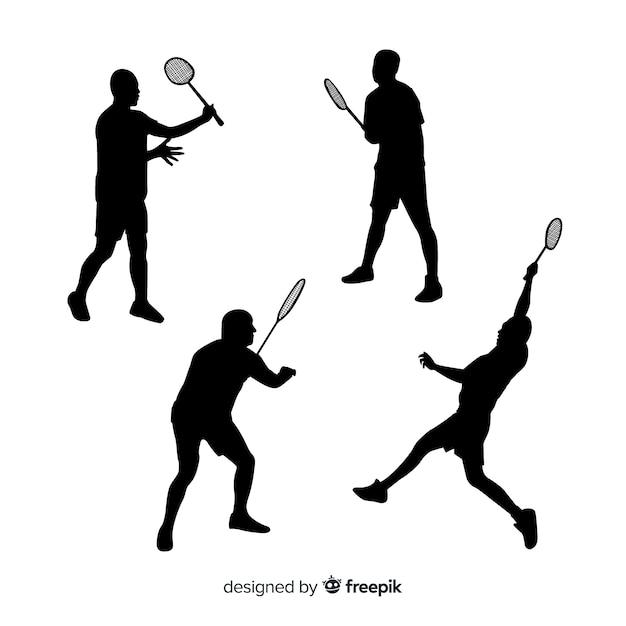 Kolekcja sylwetka płaski badminton gracza Darmowych Wektorów