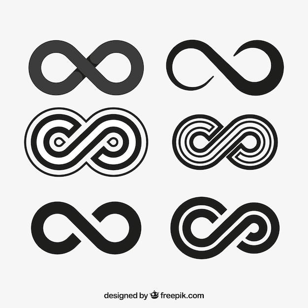 Kolekcja Symboli Nieskończoności W Kolorze Czarnym Premium Wektorów