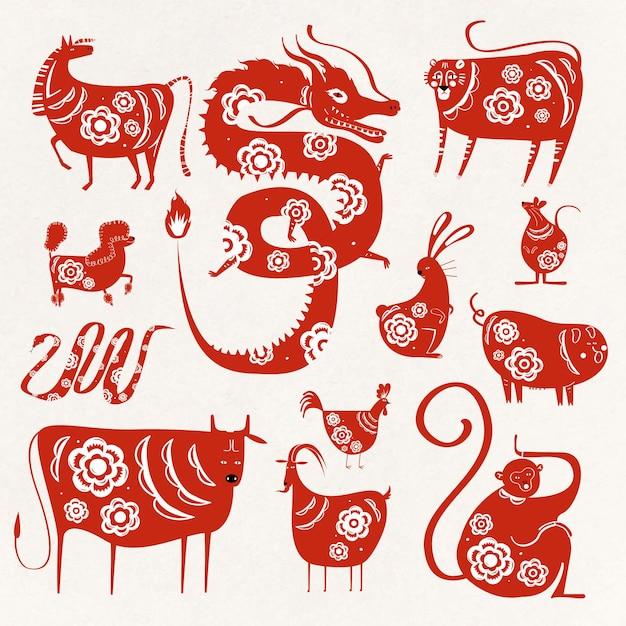 Kolekcja Symboli Zwierząt Chińskiego Nowego Roku Zodiaku Darmowych Wektorów
