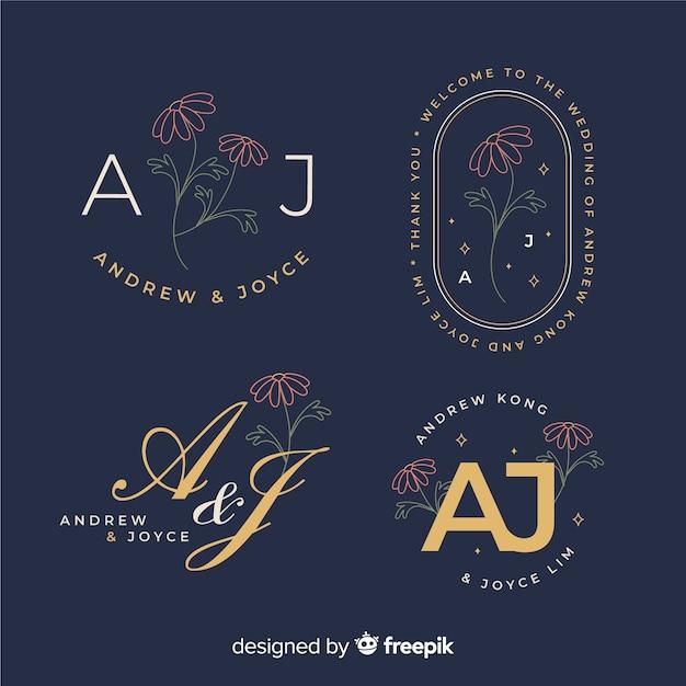 Kolekcja Szablon Logo Monogram ślubu Darmowych Wektorów