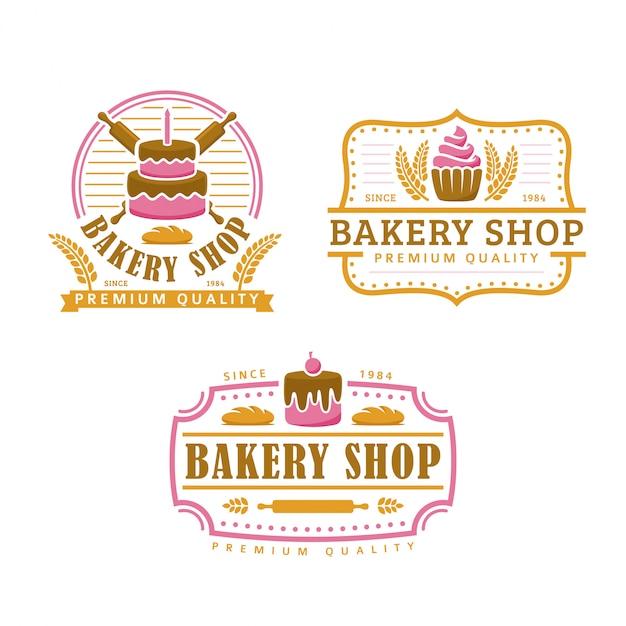 Kolekcja szablon logo piekarni, zestaw sklep piekarni, pakiet logo w stylu retro vintage Premium Wektorów