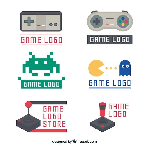 Kolekcja szablon logo rocznika joysticka Darmowych Wektorów