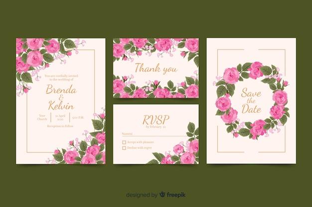 Kolekcja szablon stacjonarny ślub kwiatowy Darmowych Wektorów