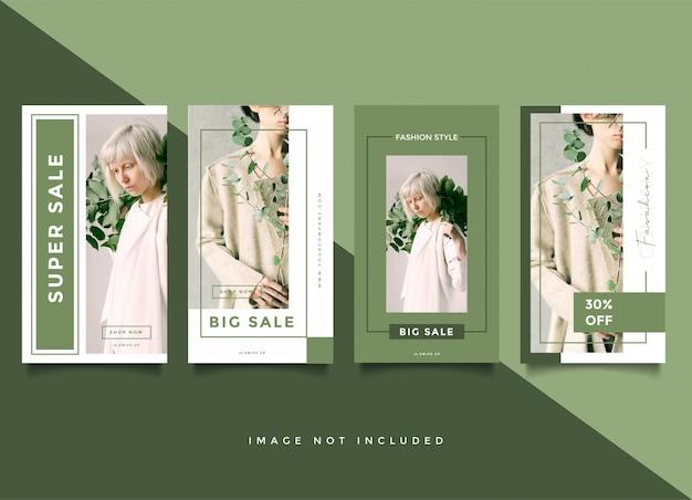 Kolekcja Szablonów Historii Mody Transparent Zielony Premium Wektorów