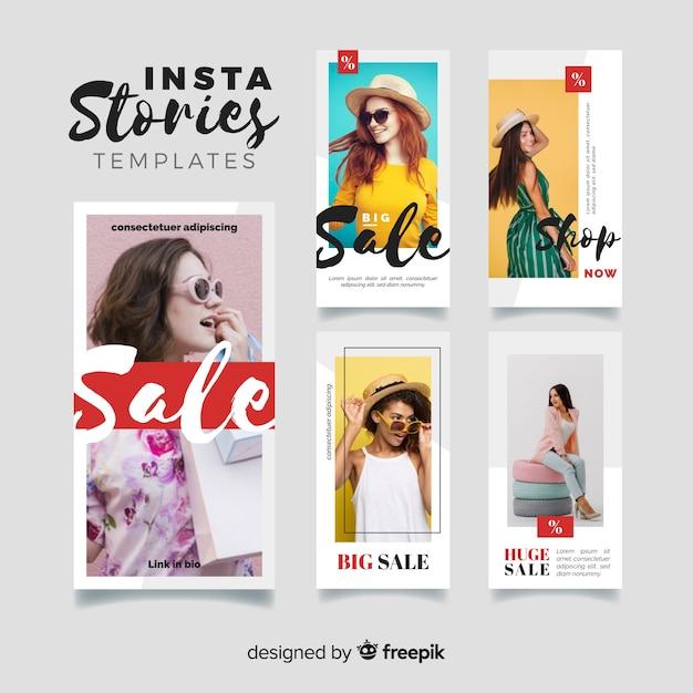 Kolekcja szablonów historii sprzedaży instagram Darmowych Wektorów