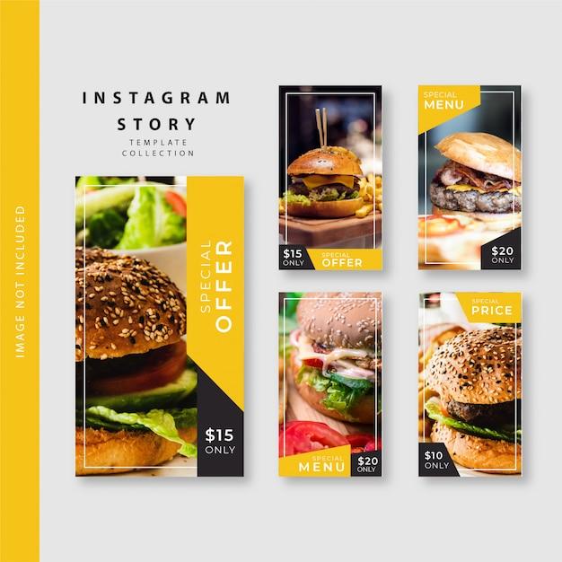 Kolekcja Szablonów Kulinarnych Historii Na Instagramie Premium Wektorów