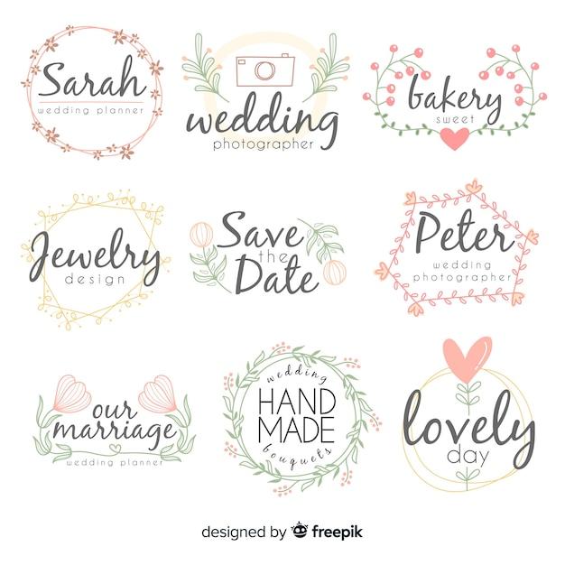 Kolekcja szablonów logo kwiaciarnia ślub Darmowych Wektorów