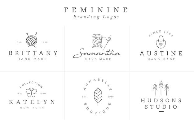 Kolekcja szablonów logo kwiat w wektorze. ręcznie rysowane logotypy kwiatowe dla małych firm Premium Wektorów
