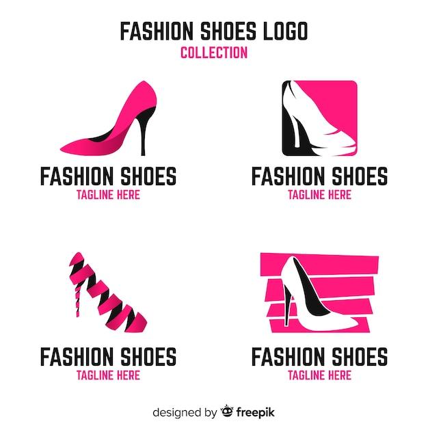 Kolekcja szablonów logo nowoczesne buty Darmowych Wektorów
