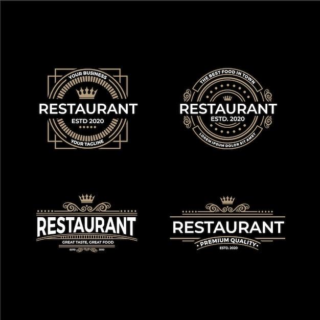 Kolekcja Szablonów Logo Retro Restauracja Darmowych Wektorów
