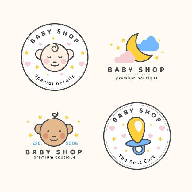 Kolekcja Szablonów Logo Słodkie Dziecko Darmowych Wektorów